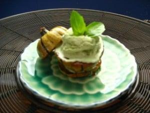 Maple & Spice Delicata Squash with Basil Ice Cream