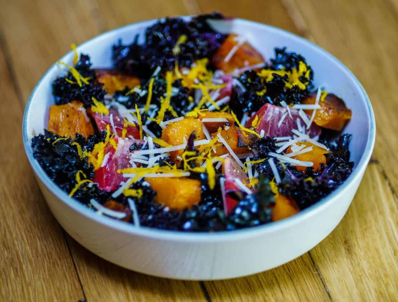 Kale Salad with Butternut Squash and Orange