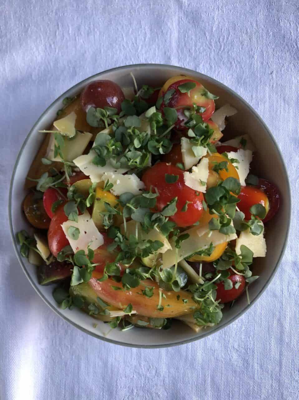 Cherry Tomato Caprese Salad with Basil Microgreens