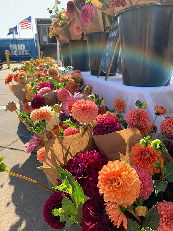 Southerly Flower Farm booth setup