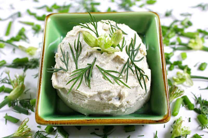 File name: CrumbleBerry French Herb Cashew Cheese in a ceramic dish