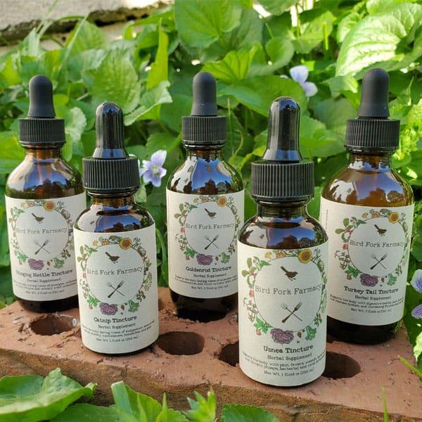 Bird Fork Farm tincture bottles