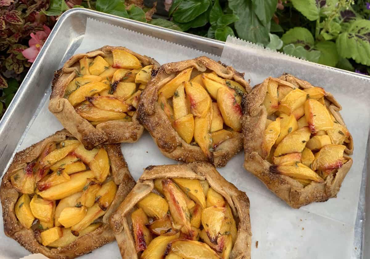 Niedlov's Bakery Peach Galettes on a baking tray